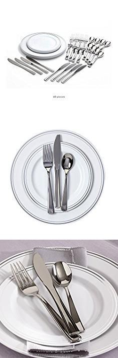 mozaik plastic plates mozaik premium plastic silver banded service for 8 with assorted cutlery