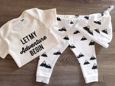 Organic Baby Girl, Boy, Onesie®, One Piece, Bodysuit, Leggings, Pants, Top Knot, Hat, Cap, Mountains, Modern, Boho, Set, Bundle