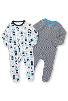 2 Pack Pure Cotton Monster & Striped Sleepsuits - Marks & Spencer