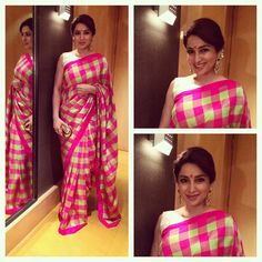 Tisca Chopra transports us to a different time!  Draping a pretty  pink and green checkered silk saree with a contrast sleeveless boat neck blouse, she finishes her desi look with polki earrings and a big bindi.She Wears Handloom. Do you? GiftPiper.com- committed to the cause of Indian weaves and crafts.