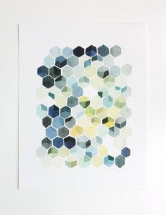 Hexagon Shadows Watercolor Art Print by YaoChengDesign on Etsy