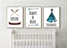 above crib set of 3, adventure, dream, explore, watercolor, neutral nursery, Boho, camping, tribal, nursery, printable, digital, boy, girl by Thebrightsidebygina on Etsy