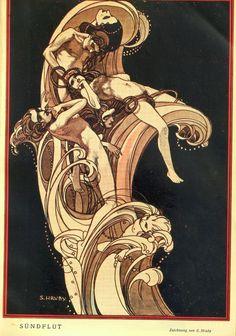 Sergius Hruby 'Sündflut', from Die Muskete, Jan. Black Cherry Flavor, Woman Illustration, Animation Background, Mocca, Japanese Artists, Dark Fantasy, Erotica, Light In The Dark, Horror