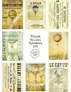 French Balloon Ephemera ATC/ACEO - Digital Collage Sheet. $4.00, via Etsy.