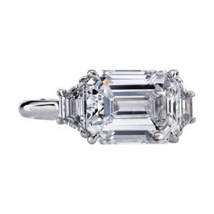 Emerald Cut Diamond Engagement Ring, Emerald Cut Rings, Three Stone Engagement Rings, Engagement Ring Cuts, Emerald Cut Diamonds, Three Stone Rings, Diamond Cuts, Diamond Rings, Diamond Shapes