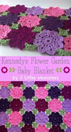 Kennedy's Flower Garden Crochet Baby Blanket.  Free pattern.  The motifs on this are about 6 inches wide and use the join as you go method so this blanket would go quick.  Also has a link for a random color generator.  Awesome