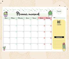 PDF - PLANNER MENSUAL CACTUS - A4 Week Planner, Agenda Planner, Study Planner, Blog Planner, Student Planner Printable, Printable Planner Stickers, Planner Template, Bullet Journal Planner, Bullet Journal School