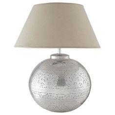 Lampe SALVADOR aus Messing mit Lampenschirm aus Stoff, H 50cm