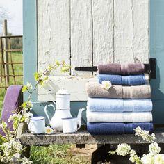 Christy Supreme Hygro 650gsm Cotton Towels - Sky Blue, Stone, White & Mocha
