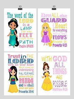 Princess Set of 4 Christian Nursery Decor Wall Art Print Rapunzel Jasmine Belle Mulan Bible Verse Multiple Sizes ** BEST VALUE BUY on Amazon