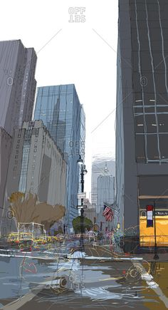 Artist: Rupert Van Wyk stock images from Offset. Authentic photography and illustrations by award-winning artists. Cities, Nyc Art, Pen And Watercolor, Animation Background, Realistic Drawings, Concrete Jungle, Urban Sketching, Urban Landscape, Looks Cool
