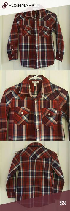 Old Navy Boys Western Shirt Old Navy Boys Western Shirt. Snap front buttons. Two front pockets. 55% Cotton. 45% Polyester. Excellent condition. Old Navy Shirts & Tops Button Down Shirts