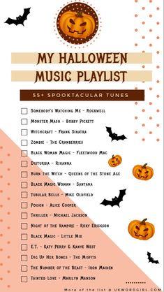 Halloween Playlist, Soirée Halloween, Halloween Movie Night, Halloween Music, Holidays Halloween, Halloween Treats, Fall Playlist, Halloween Party Songs, Playlist Music