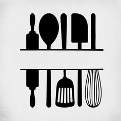 Split Kitchen Utensils SVG / Cut Files for Cricut & Silhouette Kitchen Logo, Kitchen Art, Kitchen Tools, Kitchen Gadgets, Baking Logo Design, Kitchen Essentials List, Fond Design, Kitchen Utensil Holder, Bakery Logo