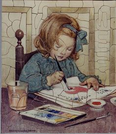 Little girl painting pictures!  jessie wilcox smith