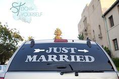 #DIYwedding ~ 'Just Married' Car Window Cling! I'm obsessed! #CheckOutMyCraftMartha