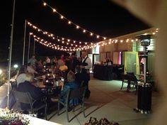 Bistro lights on patio at night  #CincinnatiWedding #PartyPleasers #Bistrolights Voice Of America, Bistro Lights, Patio Lighting, The Voice, Night