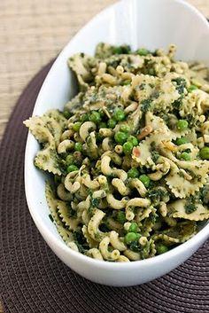 Pesto pasta salad with peas, pine nuts, and pecorino romano