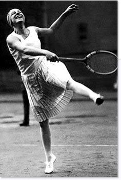 Jean Patou...designed the daring and, in that period, scandalous sleeveless and thigh-length cut tennis dress for extravagant tennis star, Suzanne Lenglen.