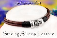 7N-522 Solid Sterling Silver,Red Tigers Eye & Leather new Choker Men Necklace.