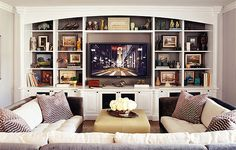 Built in shelves are a perfect home for your entertainment system.