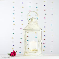 Shabby Chic Christmas Lights - Fireplace Mantle decor - White Gold Metal Candle Holder - Winter Wedding Lantern, Party, Holiday Gifts