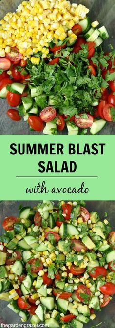 Summer Blast Salad with Avocado This is pure summer in a bowl! Fresh sweet corn, cherry tomatoes, cucumber, and herbs bring a blast of summery taste to this simple avoc. Easy Salads, Healthy Salads, Healthy Eating, Easy Summer Salads, Summer Dishes, Healthy Lunches, Healthy Drinks, Easy Meals, Vegetarian Recipes