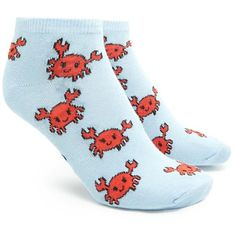 Forever21 Crab Print Ankle Socks ($1.90) ❤ liked on Polyvore featuring intimates, hosiery, socks, forever 21, short socks, forever 21 socks, ankle socks and tennis socks