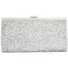Inc International Concepts Lexy Clutch, ($74) ❤ liked on Polyvore featuring bags, handbags, clutches, silver, silver handbags, inc international concepts, white purse, white clutches and white handbags