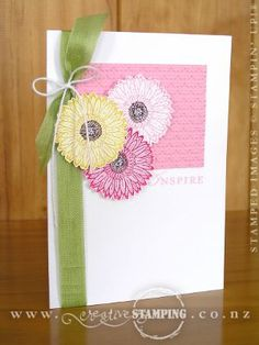 The 2-step stamping images in the Reason To Smile stamp set are lovely and whimsical.  This card has three of the images to create this two-toned look.  Firstly a background colour for the flower, Chocolate Chip for the centre and finally the outline image stamped over the top.