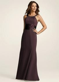 Long bridesmaid dress from David's Bridal... would probably use this style for winter
