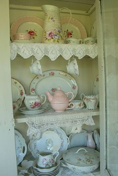 "shabby chic China Hutch to collect ""real"" tea party dishes in"