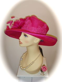 """NWT Gwyther Snoxell Hat, Fuchsia, 19"""", Weddings Races Ladies Formal"""