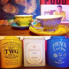 Rainy Sundays ☕️☕️☕️ #teatime #t2 #twg #frenchearlgrey #itsthesmallthings #itsthesmallthings #rainyday #sunday #lovetheweekend #harneyandsons #paris #paristea #vintageteacups #sydneywinter