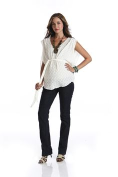 - Ivory Lace Top -  maternity