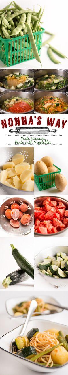 Pasta Vaianera  Pasta with Zucchini, Potatoes, Green Beans, and Tomatoes via @nonnasway