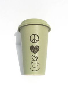 Peace Love Coffee Glitter Coffee Mug  To Go by MelissasHomeDecor