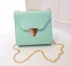 Korean Fresh Lovely Candy Color Chain Shoulder Bag Green pas cher