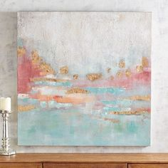 The beauty of a desert sunset is what our abstract vista art piece brings to mind. With vibrant sunset colors accented with gold, our mural will add just the right amount of outdoor serenity to your indoor decor.