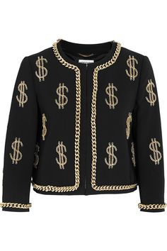 Moschino Dollar Sign chain-embellished crepe jacket NET-A-PORTER.COM