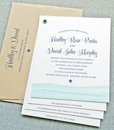 NEW Hadley Watercolor Waves Beach Booklet Wedding Invitation by Cricket Printing. Printed with navy wording, aqua blue waves, and paired with a recycled taupe envelope. This booklet invitation with perforated response postcard is perfect for a beach or destination wedding!
