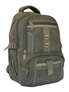 Army Green Vintage School Laptop Backpack