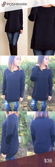 Elbow patch knit tops Navy knit top has elbow patch and hem trimmed in black....has side slots...82%polyester 14%rayon 4% spandex - price is firm✔️                                                                            Daughter modeling small                                             Small bust 36' Medium bust 38' Large bust 40' Tops