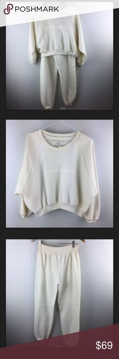 NWT Vintage 90's Victoria's Secret Fleece Set New with tags! Victoria's Secret vintage Authentic Country collection crew neck/pants set. Ivory Lightweight fleece. Oversized 90's style crew neck sweatshirt and drawstring waisted pant with cuffed legs. Size small. Victoria's Secret Tops Sweatshirts & Hoodies