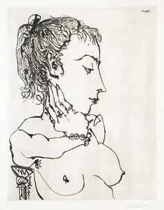Pablo Picasso Buste de Femme à la queue de cheval: Jacqueline (Bloch 771) 1955 (19 March, Paris) Aquatint printed on Arches wove with Arches watermark Signed lower right, in pencil Numbered 38/50 lower left, in pencil From the edition of 50 Printed by Lacourière, 1955