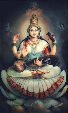 Saraswati goddess Thin Hair Cuts choppy cuts for thin hair Saraswati Goddess, Indian Goddess, Mother Goddess, Goddess Art, Goddess Lakshmi, Saraswati Photo, Shiva Parvati Images, Shiva Hindu, Hindu Deities