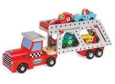 Transport 4 story racing cars on the coolest car carrier truck - Janod's Car Transporter Lorry Wooden Truck. Manufactured by Janod. Recommended for 2 years, 3 years, 4 years. Baby Toys, Kids Toys, Grand Prix, Wooden Truck, Play Vehicles, Traditional Toys, Miniature Cars, Car Carrier, Roadster