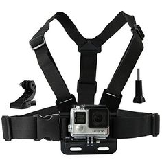CamKix Chest Mount Harness for GoPro - Adjustable Chest Strap Compatible with GoPro Hero4, Hero3+, Hero3, Hero2, and Hero Camera - Also Includes 1 J-Hook, 1 Thumbscrew , 1 CamKix Drawstring Storage Bag (Black)