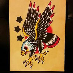Traditional eagle and stars painting