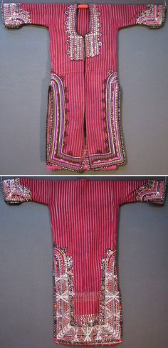 Front and rear of a 'dokuma işli üçetek' (handwoven and worked robe-with-three-panels) from the Pomak villages near Biga (Çanakkale province), mid-20th c.  Handwoven woollen fabric, adorned with cotton embroidery, silver and gold zigzag ribbons, sequins (metallic & mica), small glass beads, (cotton or orlon) pom-poms, buttons.  (Inv.nr. üçe021  - Kavak Costume Collection - Antwerpen/Belgium).